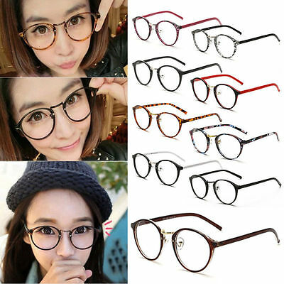 Geek Nerd Retro Costume Round Retro Large Metal Frame Clear Lens Eye Glasses