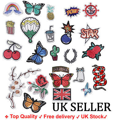 Iron / Sew On Embroidered Patch Applique Embroidery craft fabric Motif transfer