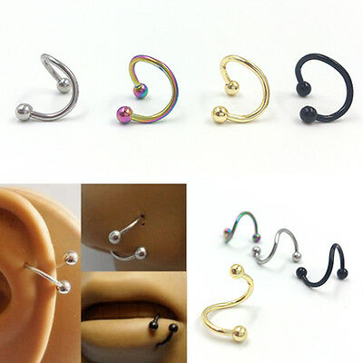 8x Stainless Steel nose lip Eyebrow Flexo Twist Helix Cartilage Ring Earrings FO