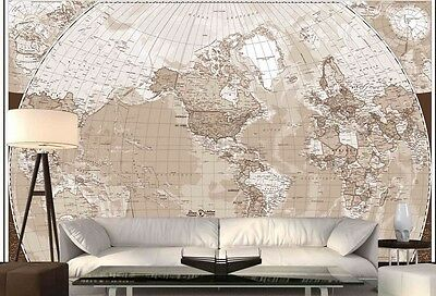 World Map (French Version) in Sepia 12' x 8' (3,66m x 2,44m)-Wall Mural