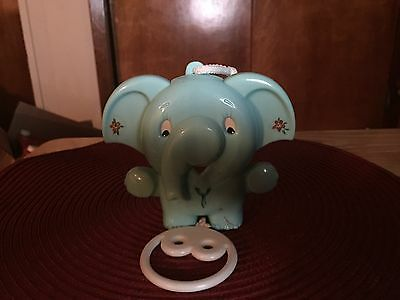 Baby Boy music and moveable plastic elephant crib toy vintage nursery shower