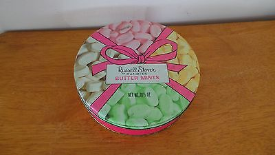 Metal Round Candy Tin Box Russell Stover butter mints candies EMPTY
