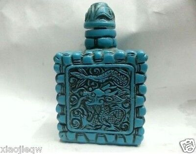 Turquoise snuff bottle collection of Chinese old hand carved dragon