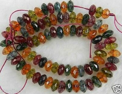 """Natural 5x8mm Faceted Multicolor Tourmaline Loose Beads 15"""""""