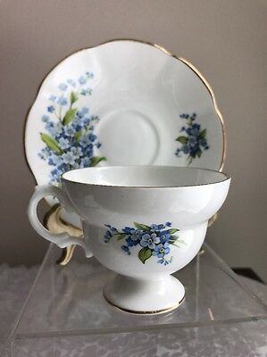 Royal Dover Fine Bone China Tea Cup And Saucer White w/Gold Trim & Blue Flowers