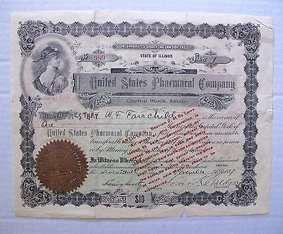 US Pharmacal Co. Stock issued to W.F. Fairchild (Placerville Druggist), 1897