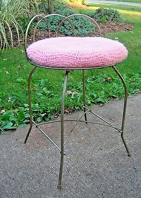 Vintage Vanity Stool Makeup Seat Hollywood Regency