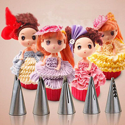 5x Russian Flower Icing Piping Nozzles Tips Kits Cakes Cupcakes Decorating Tools