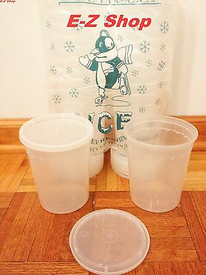 25 sets 32oz plastic soup/Food container with lids, New, Free Shipping.