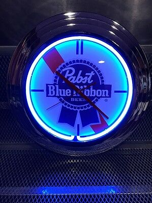 """PABST BLUE RIBBON PBR Beer ~NEW ~ BLUE NEON CLOCK ~ 19"""" Round + KOOZIES STICKERS"""