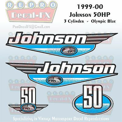 1999-00 Johnson 50 HP 3 Cyl Olympic Blue Outboard Reproduction 4Pc Vinyl Decal