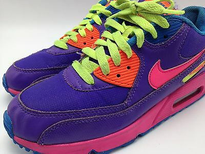3A14 Nike-Air-Max-90-GS-Purple cross training tennis running shoes size youth 6y