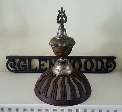 Antique Glenwood Stove Topper Finial w Cast Iron Badge