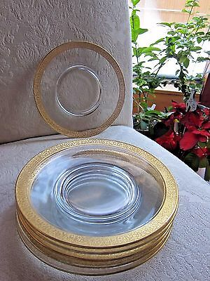 """(3) Tiffin Franciscan Rambler Rose 8"""" Salad or Luncheon Plate Gold Encrusted"""