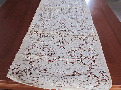 Old Ivory Vintage Lace Table Runner Rich Floral Victorian Pattern 16x54