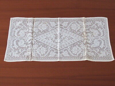 Old Ivory Vintage Lace Table Dresser Runner Rich Floral Victorian Pattern 14x32