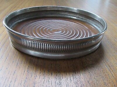 Antique Sterling Silver & Wood Wine Coaster