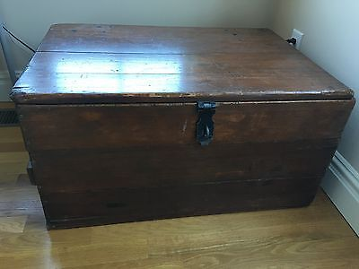 Antique Wood Storage Chest Ottoman Table with Metal Iron Lock P/U NY New York