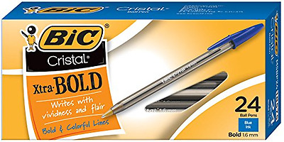 BIC Cristal Xtra Bold Ball Pen, Bold Point (1.6 mm), Blue, 24Count, New.