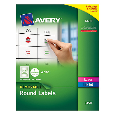 Avery Removable Round Labels, 1Inch Diameter, White, Pack of 945 (6450), New.