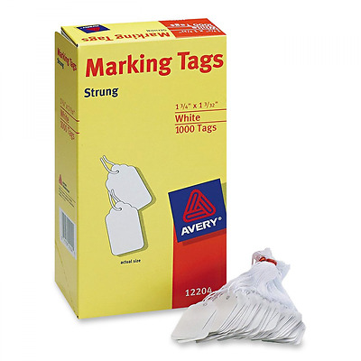 Avery White Marking Tags Strung, 1.75 x 1.093-Inches, Pack of 1000 (12204), New.