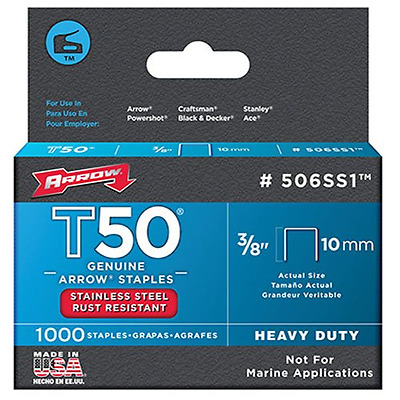 Arrow 506SS1 Genuine T50 Stainless Steel 3/8-Inch Staples, 1,000-Pack, New.