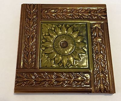 Antique 6 Inch Floral Minton Hollins Glazed Glass Ceramic Fireplace Tile Punk