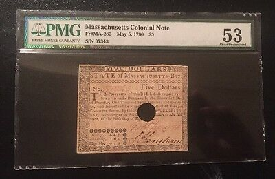 Massachusetts Colonial Note May 5, 1780 $5 PMG 53