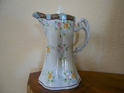 Antique/Vintage Moriage Japanese Nippon Chocolate Tea Pot Orange Pink Flowers