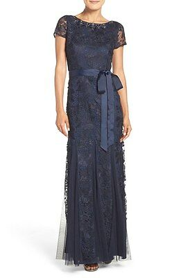 NWOT Adrianna Papell Embellished Guipure Lace Gown Dress, Navy Size 2