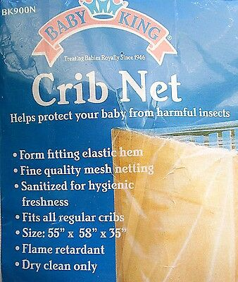 BABY CRIB INSECT NET by Baby King Fits all Regular Cribs Elastic Hem For Fit