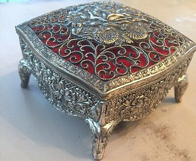 Antique Victorian Metal Casket Coffin Jewelry Box Made In Japan