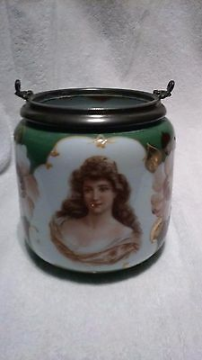 Antique Hand Painted Victorian Lady Bust Glass Biscuit Cracker Jar No Lid
