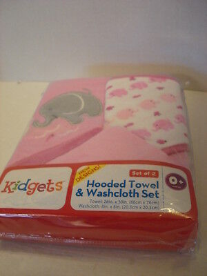 Hooded Towel & Washcloth Set Pink with Elephants 2 Towel with 2 Washcloth, New