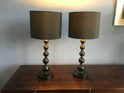 Pair of Modern Black Table Lamps With Black Shades