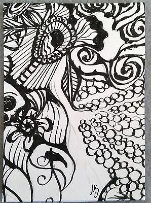 ACEO MS Original Drawing Floral Inspiree Design Ink Art Card