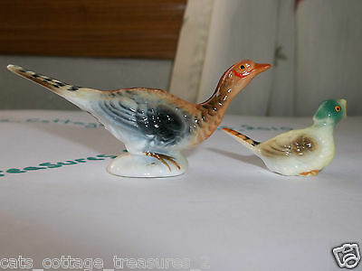 Vintage Bone China Pheasants Pea Hen and Chick VGC