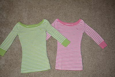 Lot of 2 Abercrombie Kids 3/4 Sleeve Striped Top Shirt Green Pink Size M