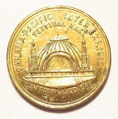 Token Medal 1915 PPIE PANAMA PACIFIC EXPO. WORLD'S FAIR Court & Hall Gold Gilt