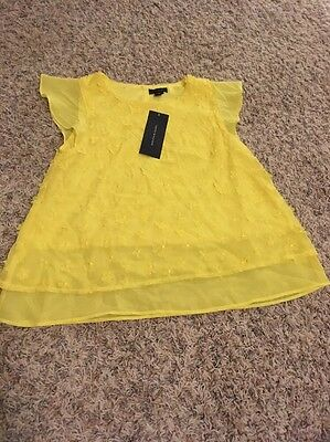 NWT Girls Size 10 Yellow Floral Cap Sleeved Shirt Perfect For Easter And Summer