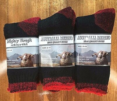 6 Pairs Heavy Duty Australian Merino Extra Thick Wool Work Socks New
