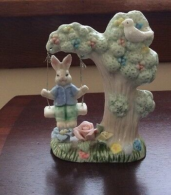 "EASTER Porcelain Figurine Bunny Rabbit On Tree Swing Spring Flowers 4-1/2""H ~VTG"