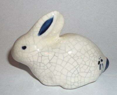 Small Crackle Ceramic Blue White Hand Painted Bunny Rabbit figurine 2x3