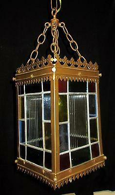 """Beautiful Antique Stained Glass Chandelier - Square w/Brass Frame 12-1/2"""""""