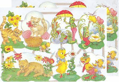 Chromo EF Découpis Animaux Chat Canard 7055 Embossed Illustrations Cat Duck