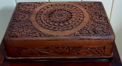 Hand Carved Teak Jewellery Box , circa mid 1900's