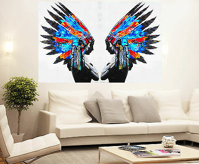 Huge Street Pop Wall Art Indian Chief Feather  Print  Painting Canvas Painting