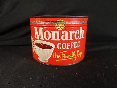 Vintage 1 Lb. Key Wind Monarch Coffee Can Tin  Correct Lid