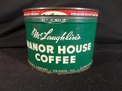 VINTAGE 1 LB. KEY WIND McLAUGHLIN MANOR HOUSE COFFEE CAN TIN  CORRECT LID