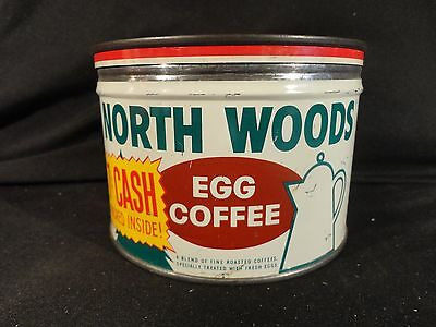 Vintage 1 Lb. Key Wind North Woods Coffee Can Tin  Correct Lid 7 Cents Cash Back